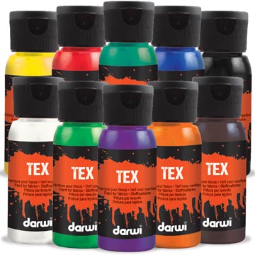 Darwi textielverf Tex, 50 ml, etuivan 10 stuks in geassorteerde kleuren