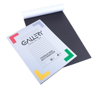 Gallery tekenpapier, zwart, ft 24,5 x 34,5 cm, 120 g/m², blok van 20 vel