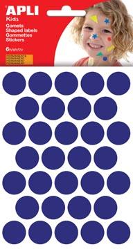 Apli Kids stickers, cirkel diameter 20 mm, blister met 180 stuks, blauw