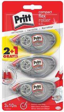 Pritt correctieroller Compact Flex 6 mm x 10 m, blister 2 + 1 gratis