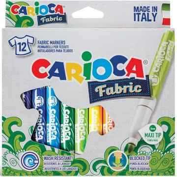 Carioca textielstift Fabric, kartonnen etui met 12 stiften
