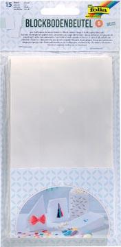Folia papieren zak, 100 x 55 x 175 mm, pak van 15 stuks, wit