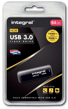 Integral USB stick 3.0, 64 GB, zwart