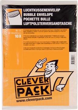 Cleverpack luchtkussenenveloppen, ft 180 x 265 mm, met stripsluiting, wit, pak van 10 stuks