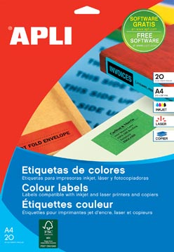 Apli Gekleurde etiketten ft 70 x 37 mm (b x h), blauw, 480 stuks, 24 per blad (1592)