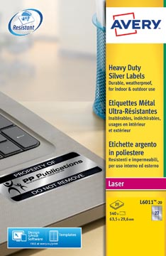Avery L6011-20 ultra-sterke etiketten ft 63,5 x 29,6 mm (b x h), 540 etiketten, zilver