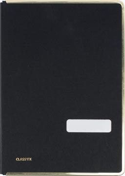 Class'ex handtekenmap, linnen omslag, met metalen beschermrand, zwart