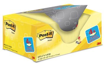 Post-it Notes, ft 38 x 51 mm, geel, blok van 100 vel, pak van 16 + 4 gratis