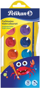 Pelikan waterverfdoos Junior, doos met 12 napjes in geassorteerde kleuren + penseel