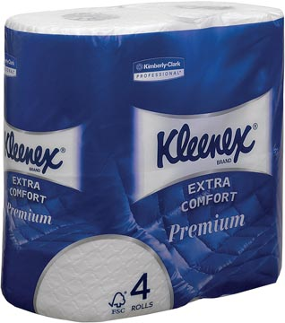 Kleenex toiletpapier Extra Comfort, 4-laags, 160 vel per rol, pak van 4 rollen