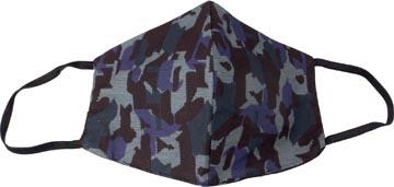 Wasbaar mondmasker, army blue motief, maat: heren, pak van 5 stuks
