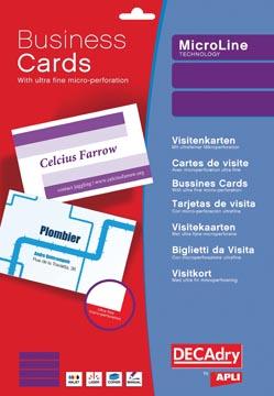 Decadry visitekaarten MicroLine ft 85 x 54 mm, 185 g/m², 500 kaartjes