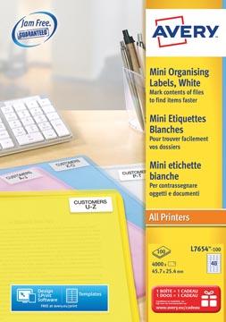 Avery Witte laseretiketten QuickPeel ft 45,7 x 25,4 mm (b x h), 4.000 stuks, doos van 100 blad