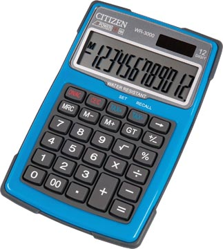 Citizen robuuste rekenmachine WR3000, water- en stofbestendig, blauw